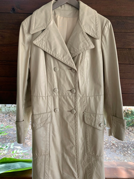 70s Vintage leather trench coat/Double breasted l… - image 4