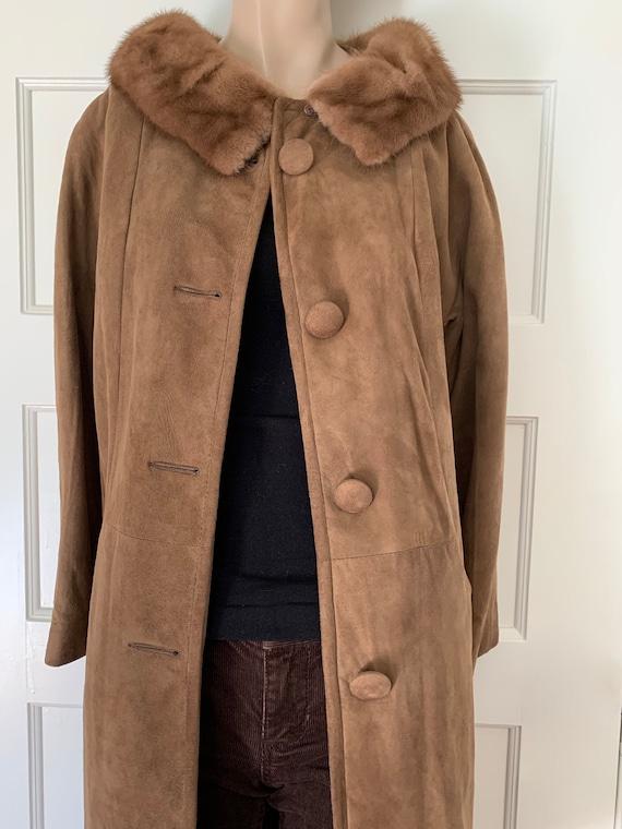 vintage 60s coat / 60s brown suede and mink collar