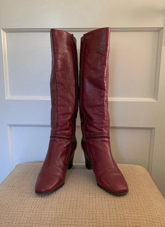 Gabor vintage cherry red tall leather boots/ Vint… - image 2
