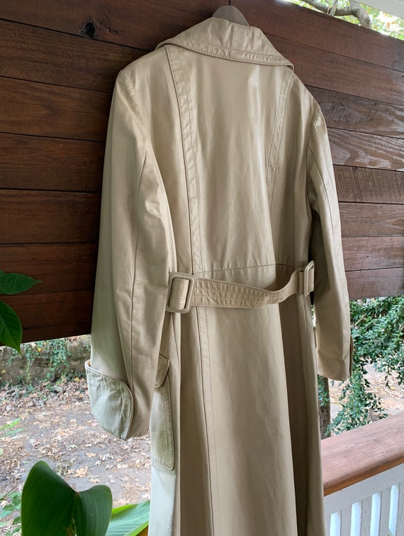 70s Vintage leather trench coat/Double breasted l… - image 7