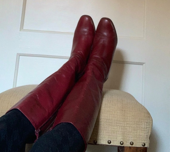 Gabor vintage cherry red tall leather boots/ Vint… - image 9