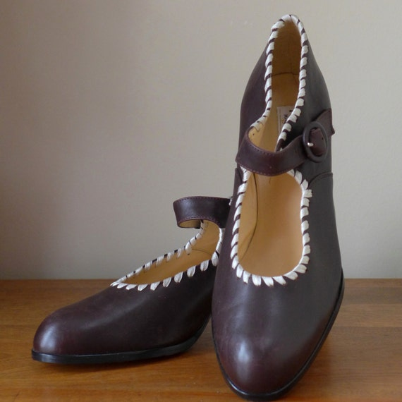 Vintage 80s Brown Leather Mary Jane Shoes Made in