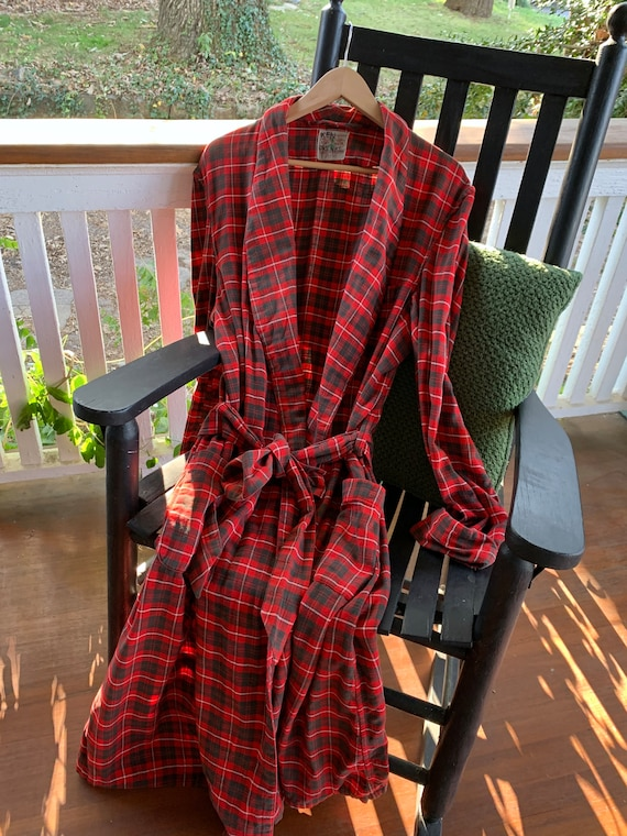 1940s State O Maine Mens Plaid Robe/Vintage Cotton