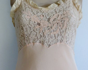 1930's Silk & Lace Slip-gown/40's Lace Nightgown /30's Silk Nightgown/30's-40's Bridal Slip/30's Bias Nightgown/Size up to 34/FREE SHIPPING/