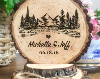 Rustic Mountain Wedding Cake Topper, Tree Cake Topper, Wood Cake Topper, Engraved Topper, Custom Cake Topper, Personalized Topper, Handmade