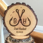 Rustic Topper, Wedding Cake Top with Fishing Hooks, Personalized Wood Engraved Just Hooked Fisherman Cake Toppers