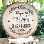 Happily Ever After Cake Topper, Rustic Wood Engraved Wedding Cake Top
