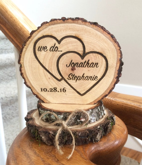 Rustic Wedding Cake Topper Wood Cake Topper Heart Cake | Etsy