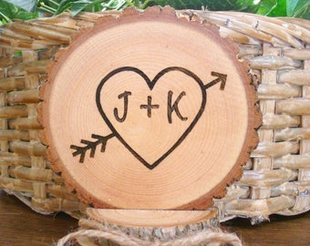 Rustic Heart and Arrow Wedding Cake Topper
