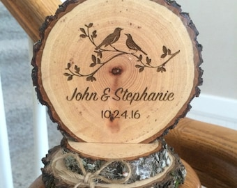 Rustic Wedding Love Bird Cake Topper Wood Personalized