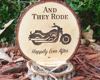 Motorcycle Cake Topper, Rustic Wedding Cake Topper, Wood Slice Cake Topper, Motorcycle Wedding, Engraved Topper, Motorcycle Cake Top
