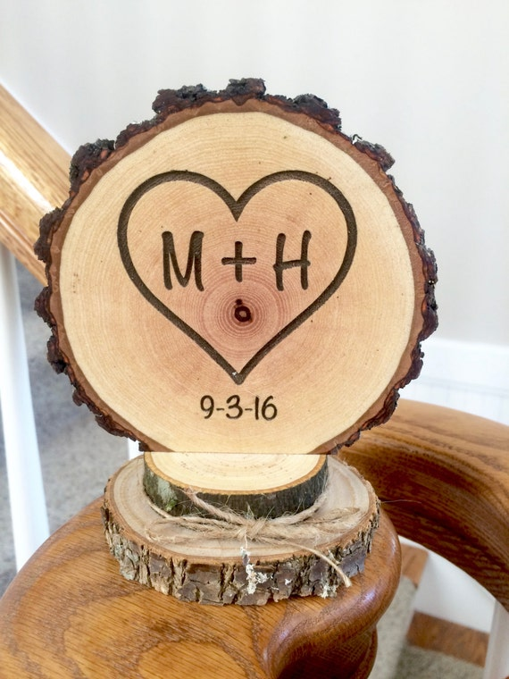 Rustic Wood Cake Topper Wedding Heart Cake Topper Initials | Etsy