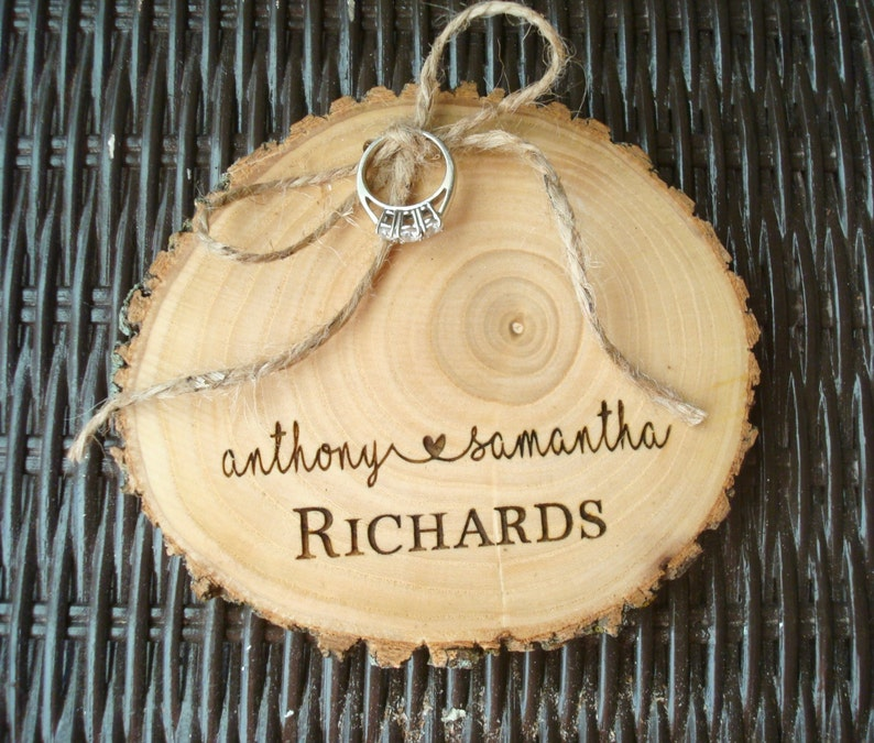 Wedding Ring Holder Wood Slice Wood Ring Holder Wedding image 0