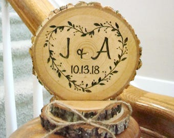 Personalized Wedding Cake Topper Heart Wreath Engraved Wood