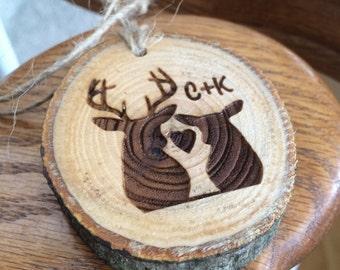 Rustic Wood Truck Charm, Car Rear View Mirror Ornament, Deer Hunter Gift