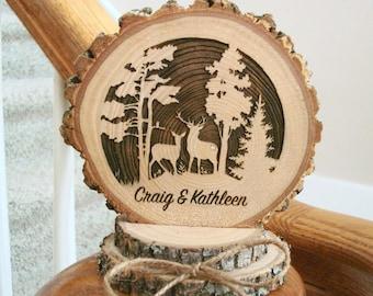 Rustic Wood Wedding Cake Topper Deer