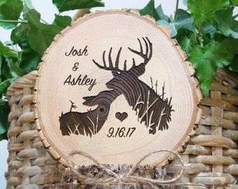 Deer Hunting Wedding Cake Topper, Rustic Wood Cake Top, Barn Lodge Country Wedding