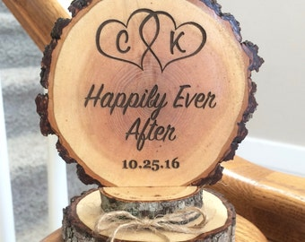 Happily Ever After Cake Topper, Rustic Wedding Cake Topper, Custom Cake Topper, Engraved Topper, Wood Cake Topper, Personalized Topper