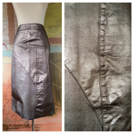 Metallic Leather Skirt 14 16 Vintage 80s Leather Pencil Skirt Etsy