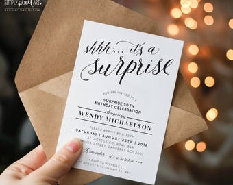 BY352 DIGITAL Shhh it's a SURPRISE Birthday Party Invitation script lettering invite   simple stylish black & white printable 40th 50th 60th