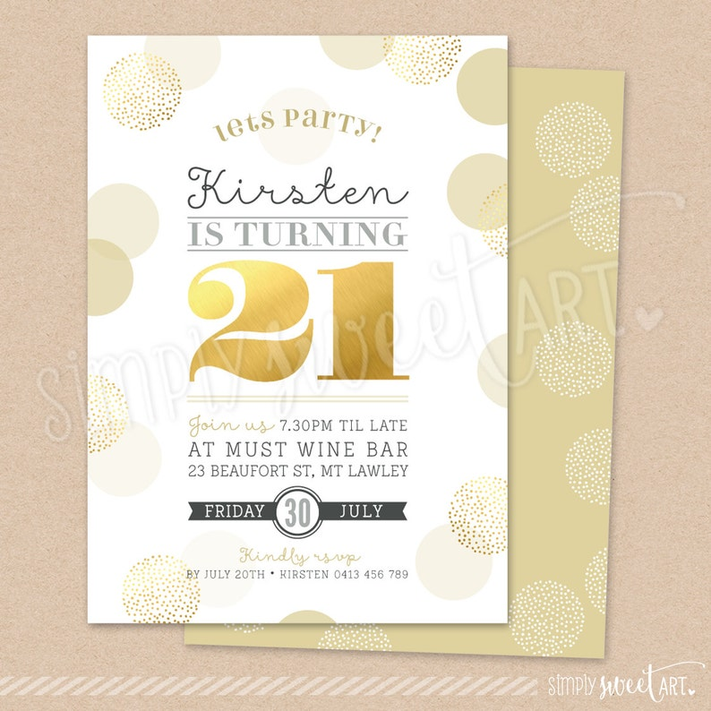 DIGITAL 21st Birthday Party Invitation twenty-first stylish elegant PRINTABLE INVITE coral champagne purple large confetti spots gold 21