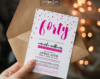 BY307 DIGITAL Birthday Party Invitation - modern fresh confetti hand lettered script invite printable 21st 30th 40th 50th pink mint gold