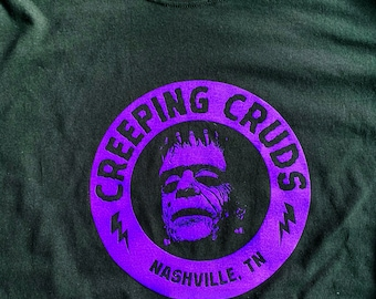 Long Sleeve CREEPING CRUDS Purple on black - Graphic in three locations
