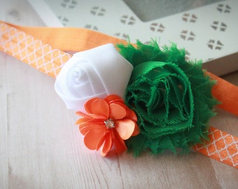 The Colors of Ireland - Saint Patrick's Day Sweet Irish Pride Flower Headband - Triple Flower Hair Bow with Green, White, and Orange -