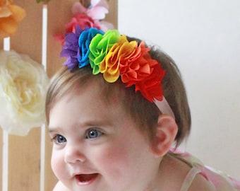 Pastel Rainbow Felt Flower Crown OSFA Rainbow Baby Photo Prop Rainbow Baby Flower Headband Birthday Full Flower Crown Toddler Crown