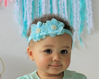 Tiffany Blue Flower Baby Headband - Girl's Hair Bow in Blue with Adorable Pearls - Aqua Baby Blue Headband