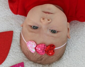 2f68192e45c Mini Heart Newborn Headband - Preemie Valentine s Day Bow - Baby Girl Hearts  Headbands