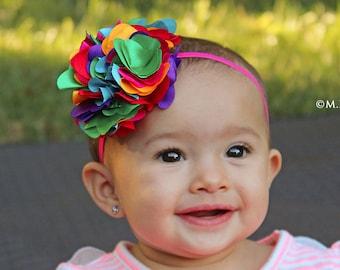 Rainbow Rollerskates Headband Organic Cotton Knotted Headband Infant Headband Toddler Headband Baby Shower Gift