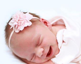 Newborn Flower Headband Powder Pink Spring Blossom Hair Bow Infant Poto Prop Headband