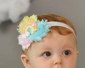Rainbow Baby Head Band Pastel Rainbow Shabby Headband Mini Flower Girls Hair Bow Birthday Newborn Infant Girl Headband Baby Shower Gift