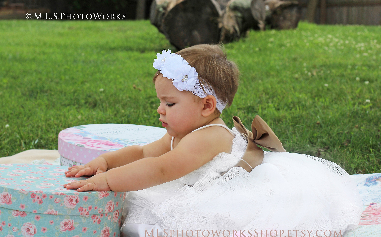 abae7344a9fb1 White Chiffon   Lace Flower Headband for Baby Girl Wedding