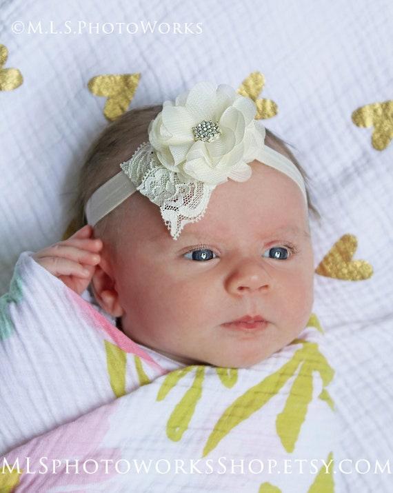 Ivory Lace HeadbandLace Baby HeadbandBaby HeadbandBaby Girl HeadbandInfant HeadbandNewborn HeadbandBaptism HeadbandChristeningBaby