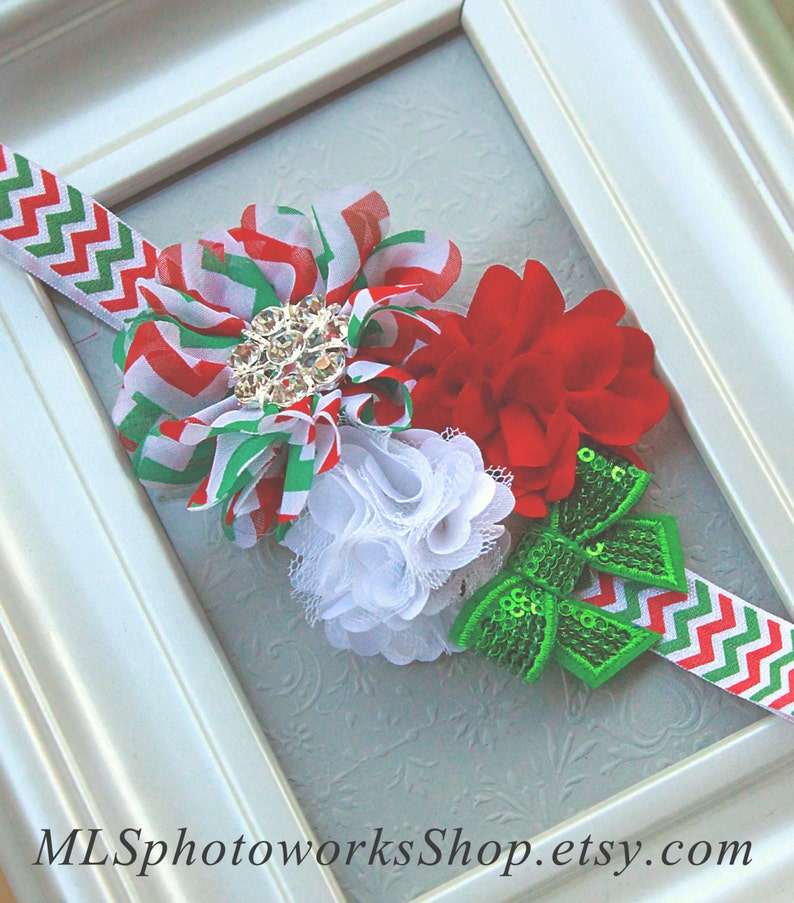 bad5591d24d09 Chevron Christmas Headband for Baby Girl Holiday Outfit - Baby Christmas  Hair Bow in Red, White and Green with Trendy Chevron Pattern