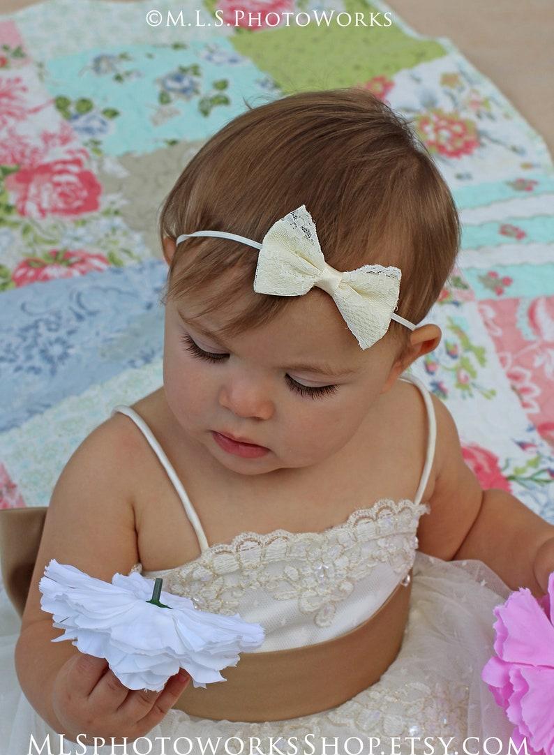f9d3adf9f4cc Classic Ivory Lace Baby Bow Headband