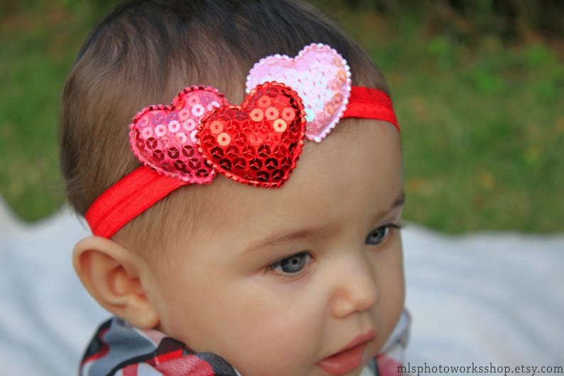 c281a5f03d401 Triple Sequin Heart Headband for Valentine s Day Baby