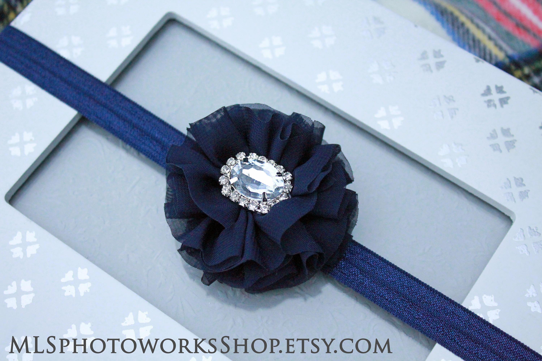 Navy blue chiffon dress headband baby girl flower hair bow etsy zoom izmirmasajfo