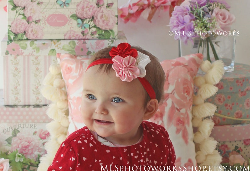 Newborn Pink and White Flower Headband Red Valentine/'s Day Tri-Color Hair Bow for Baby Girl