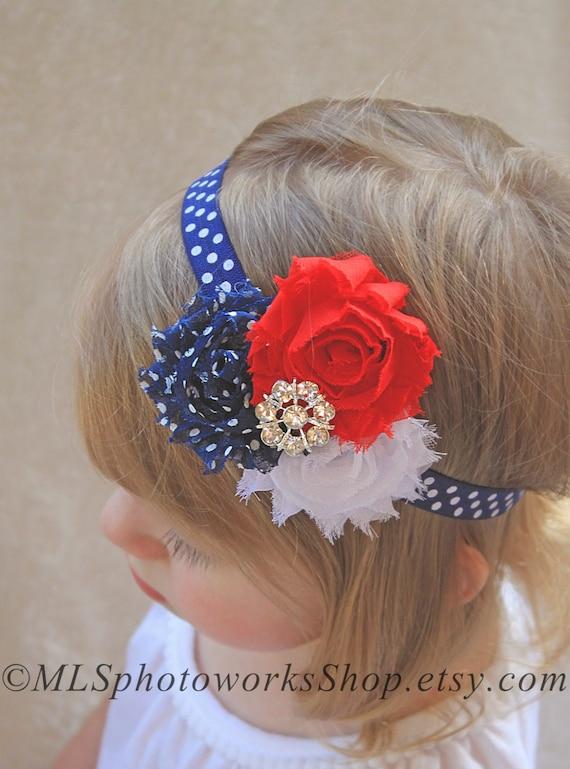 Red Baby Headband Navy Blue and Red Headband Baby Girl Headband Newborn Headband Toddler Headband Patriotic Bows Navy Headband