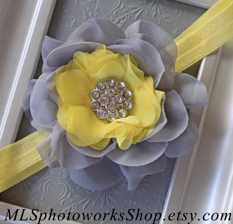 Light Yellow Grey Flower Headband Baby Girl Gray Flower Etsy