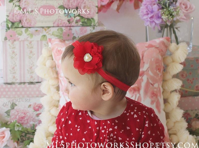 Girls Baby Sweetheart Headband for Newborns Toddlers Soft Light Chiffon Flower Hairbow with Heart Charm