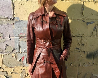 vintage brown leather trench coat with toggle closure, long leather coat, leather spy coat, brown leather jacket - 70s