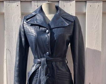 vintage leather trench coat, blue leather jacket, blue leather coat, belted spy coat, trench coat, with pockets  - 70s