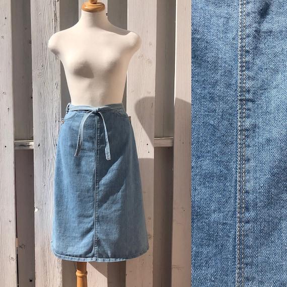 70s denim wrap skirt jean skirt vintage denim apro