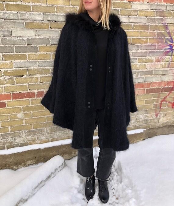 80s wool cape mohair cape mohair coat shaggy fuzzy