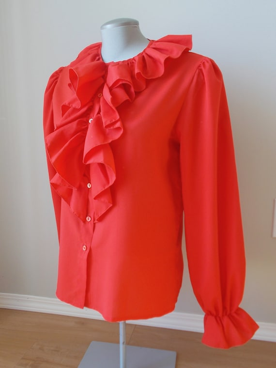 vintage red ruffle blouse romantic spanish gypsy … - image 3
