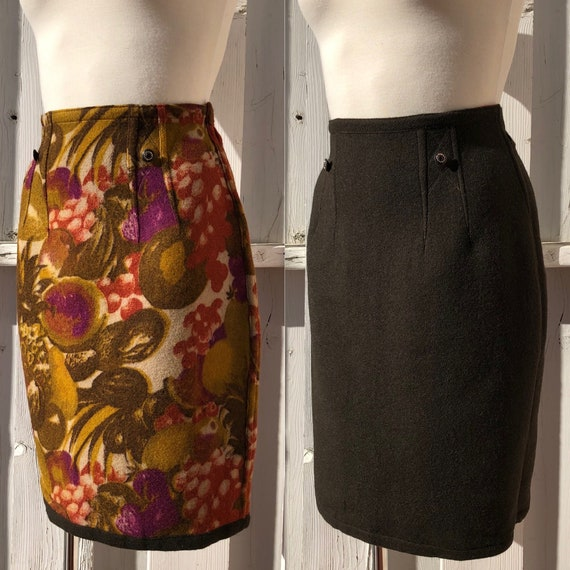vintage reversible skirt high waisted wool pencil